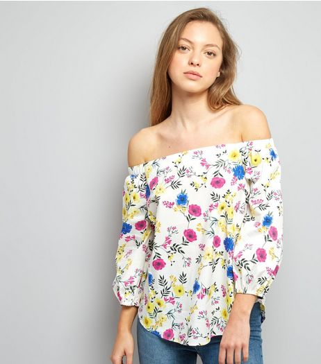 White Floral Print Bardot Neck Top | New Look