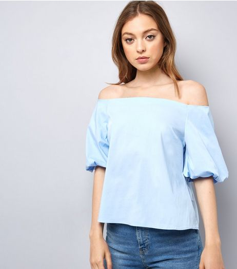 Pale Blue Balloon Sleeve Bardot Neck Top | New Look