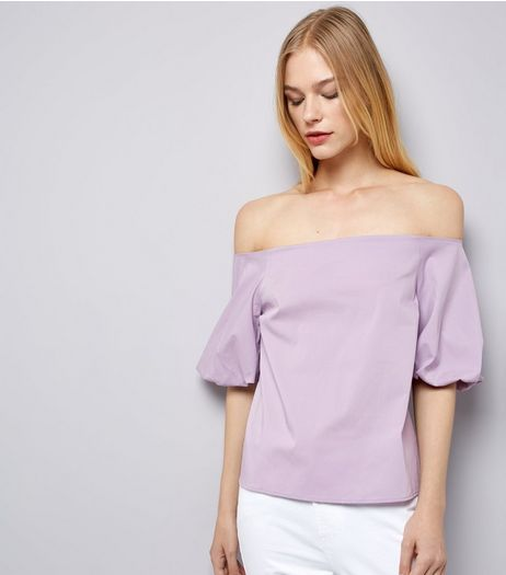 Purple Balloon Sleeve Bardot Neck Top | New Look