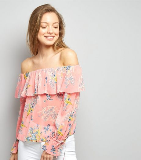 Pink Floral Print Frill Trim Bardot Neck Top | New Look