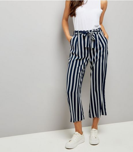 Tall Navy Stripe Tie Waist Culottes | New Look