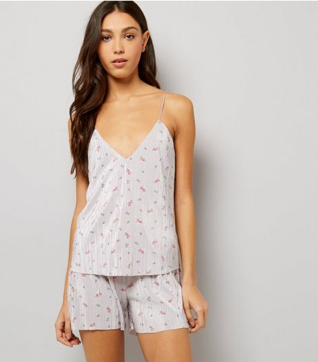 Lilac Floral Pleated Pyjama Cami | New Look