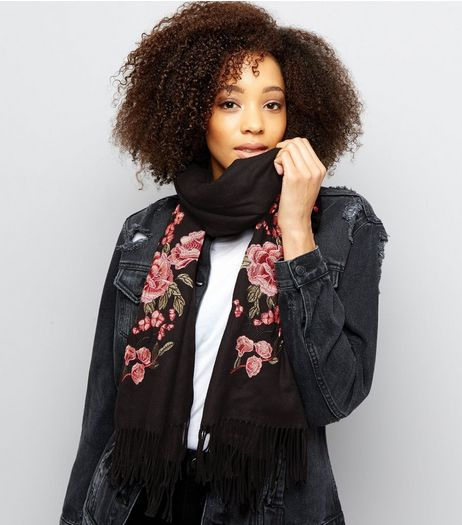Black Floral Embroidered Scarf | New Look