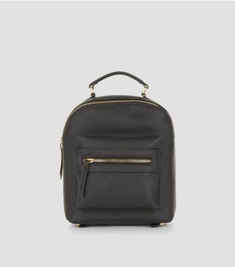 Black Pocket Front Mini Backpack | New Look