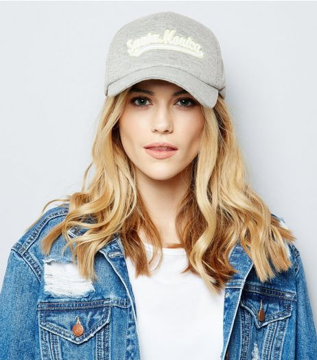 Grey Santa Monica Embroidered Cap | New Look