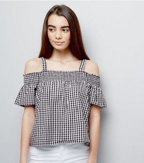 Teens Black Gingham Shirred Cold Shoulder Bardot Neck Top | New Look