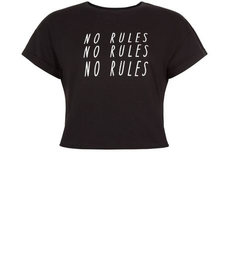 Teens Black No Rules Print Crop Top  | New Look