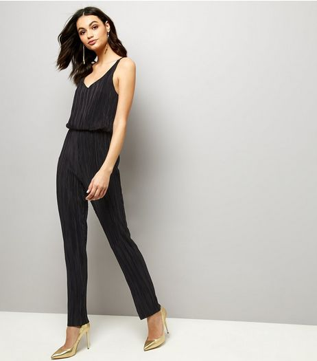 Mela Black Pleated V Neck Sleeveless Jumpsuit  | New Look