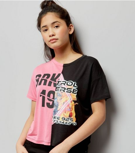 Teens Pink Spliced Cropped T-Shirt | New Look