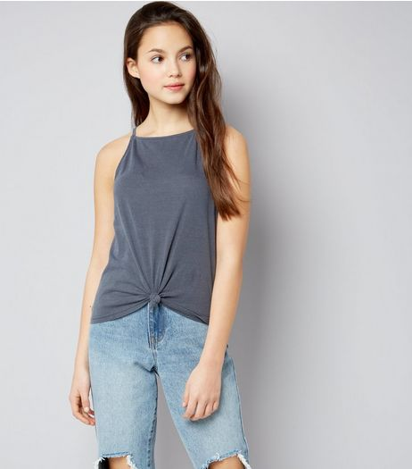 Teens Dark Grey High Neck Knot Front Cami | New Look