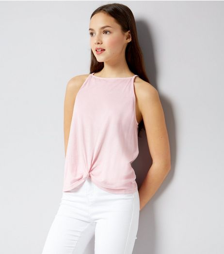 Teens Pink High Neck Knot Front Cami | New Look