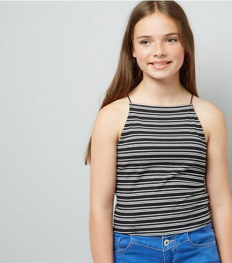Teens Black Contrast Stripe Cami  | New Look