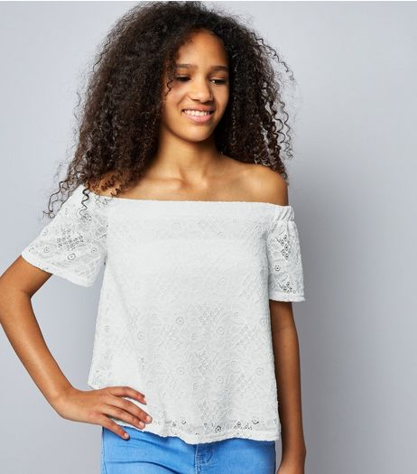Teens Cream Lace Bardot Neck Top | New Look