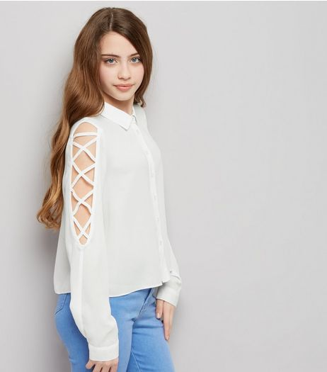Teens Cream Lattice Sleeve Shirt | New Look