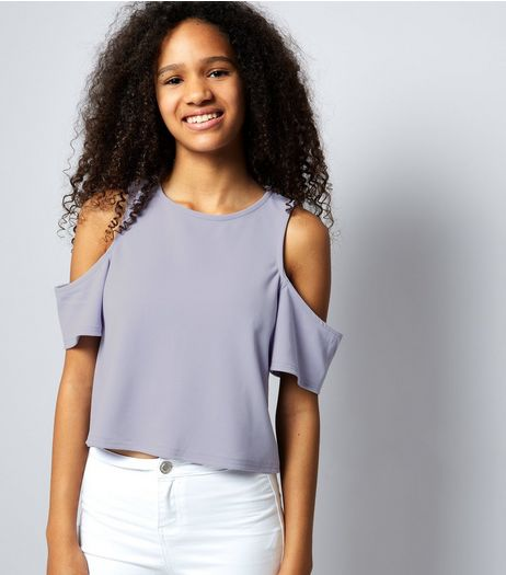 Teens Lilac Cold Shoulder Flutter Sleeve Top | New Look