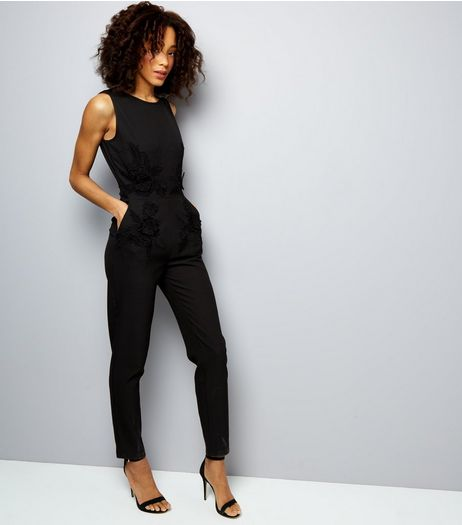 Mela Black Floral Embroidered Sleeveless Jumpsuit  | New Look