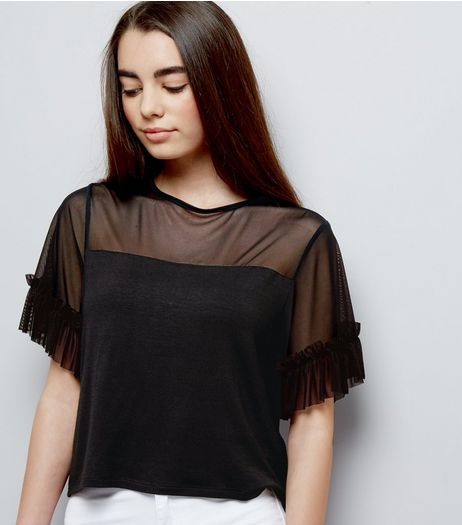 Teens Mesh Frill Trim Crop Top  | New Look