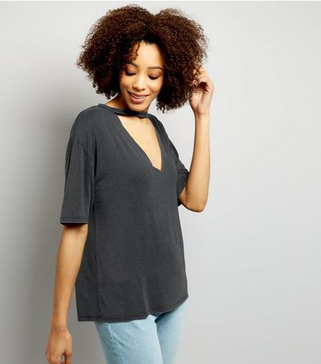 Dark Grey Cut Out Choker Neck T-Shirt  | New Look