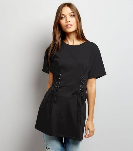 Black Lace Up Corset Longline T-Shirt | New Look