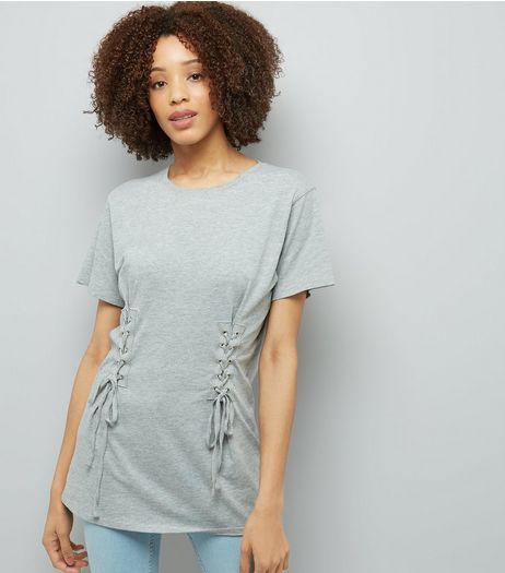 Grey Lace Up Corset Longline T-Shirt | New Look