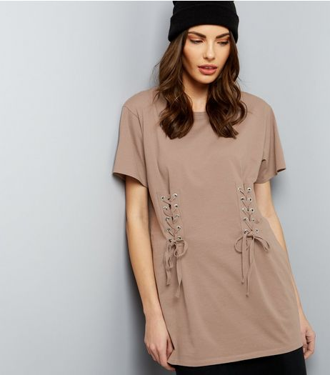 Mink Lace Up Corset Longline T-Shirt | New Look
