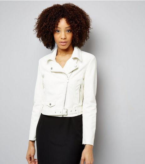 Cream Belted Leather-Look Jacket  | New Look