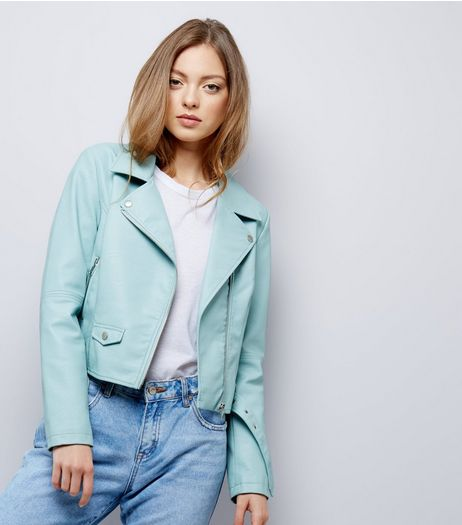 Mint Green Belted Leather-Look Jacket  | New Look