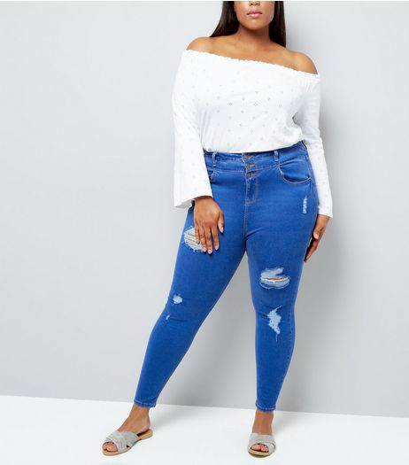 Curves Blue High Waisted Ripped Skinny Jeans | New Look