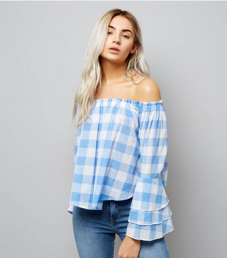 Petite Blue Gingham Tiered Sleeve Bardot Neck Top | New Look