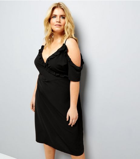 Curves Black Frill Cold Shoulder Wrap Front Midi Dress | New Look