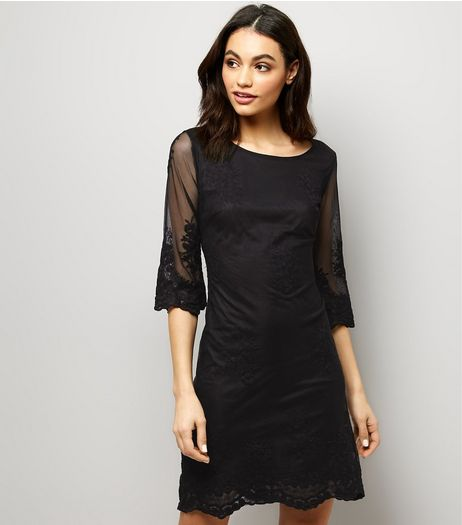 Mela Black Mesh Embroidered Sleeve Mini Dress  | New Look
