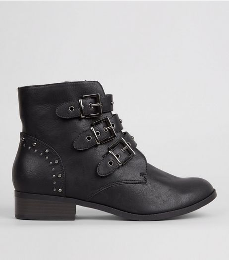 Black Stud Strap Buckle Strap Boots | New Look