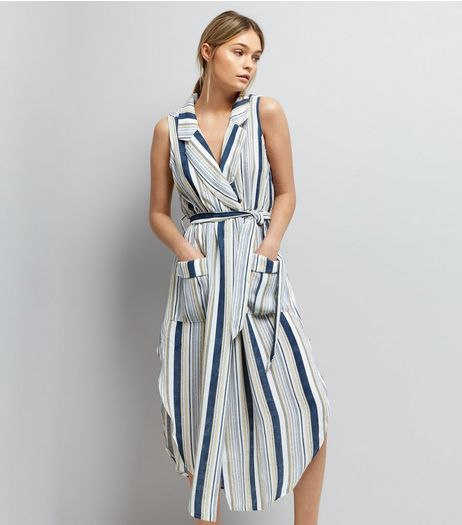 Mela White Stripe Wrap Front Dress  | New Look