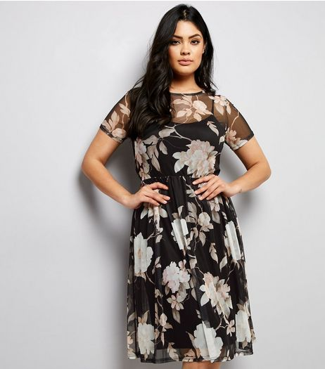 Curves Black Floral Mesh Midi Dress | New Look