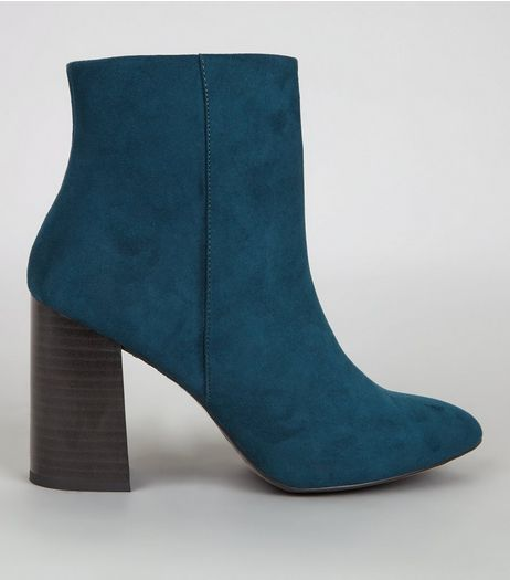Blue Suedette Block Heel Boots | New Look