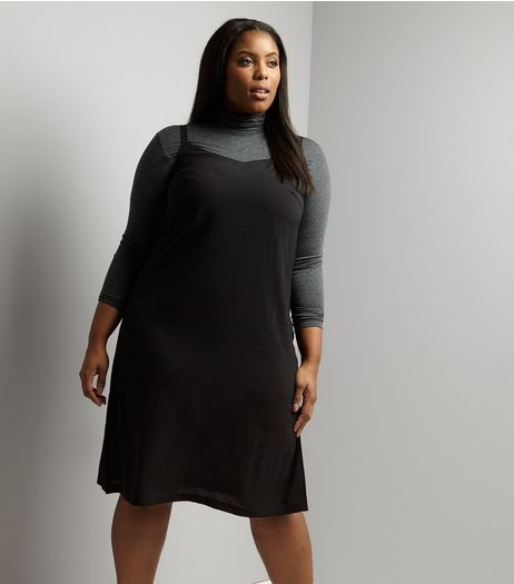 Curves Black Midi Slip Dress | New Look