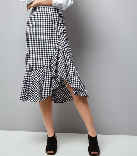 Black Gingham Check Frill Trim Midi Skirt  | New Look