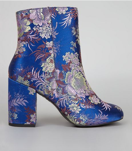 Blue Floral Brocade Heeled Boots | New Look
