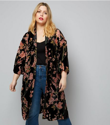Curves Black Floral Devore Velvet Kimono | New Look