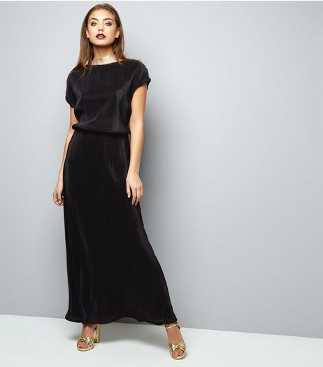 Mela Black Short Sleeve Belted Maxi Dress  | New Look