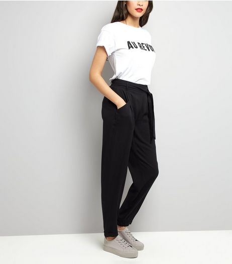Black Tie Waist Trousers  | New Look