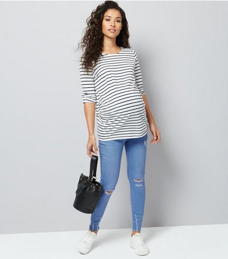 Maternity Blue Frayed Hem Ripped Skinny Jeans | New Look