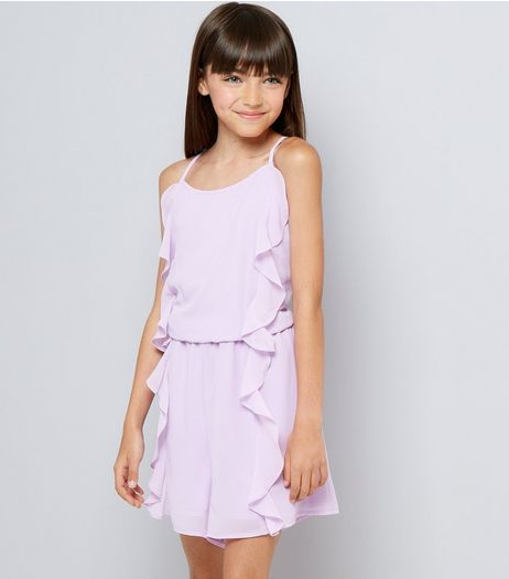 Teens Lilac Frill Front Playsuit | New Look