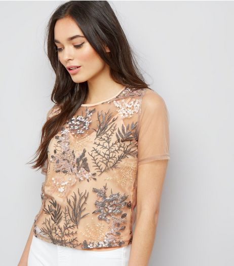 Pink Floral Embroidered Mesh Short Sleeve T-Shirt  | New Look