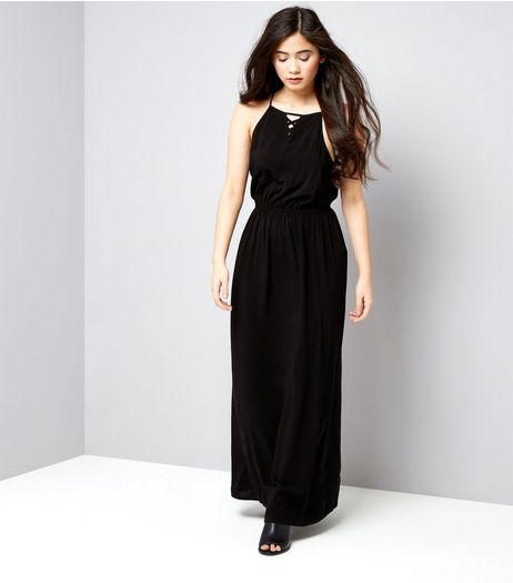 Teens Black Lattice Front Maxi Dress | New Look