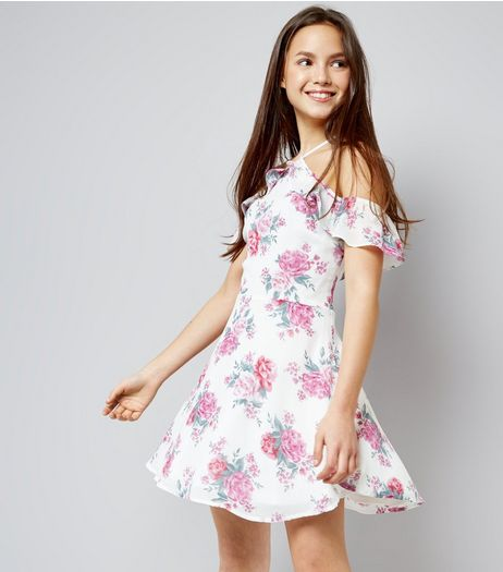 Teens White Floral Print Chiffon Cross Front Dress | New Look