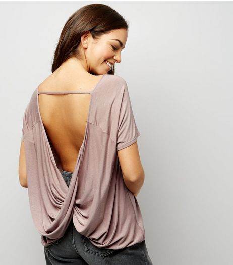 Mink Short Sleeve Wrap Bar Back Top | New Look