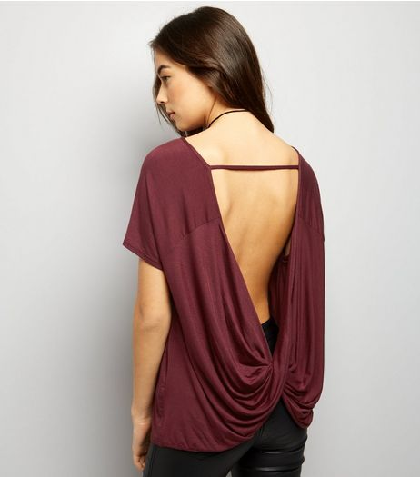 Burgundy Short Sleeve Wrap Bar Back Top  | New Look