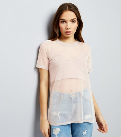 Mid Pink Sheer Metallic Boyfriend T-Shirt  | New Look