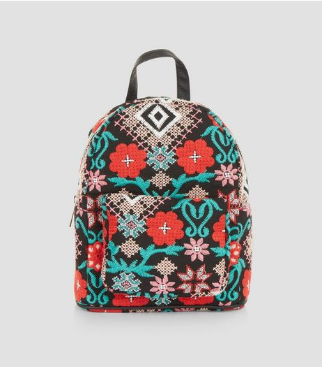 Black Floral Embroidered Mini Backpack | New Look